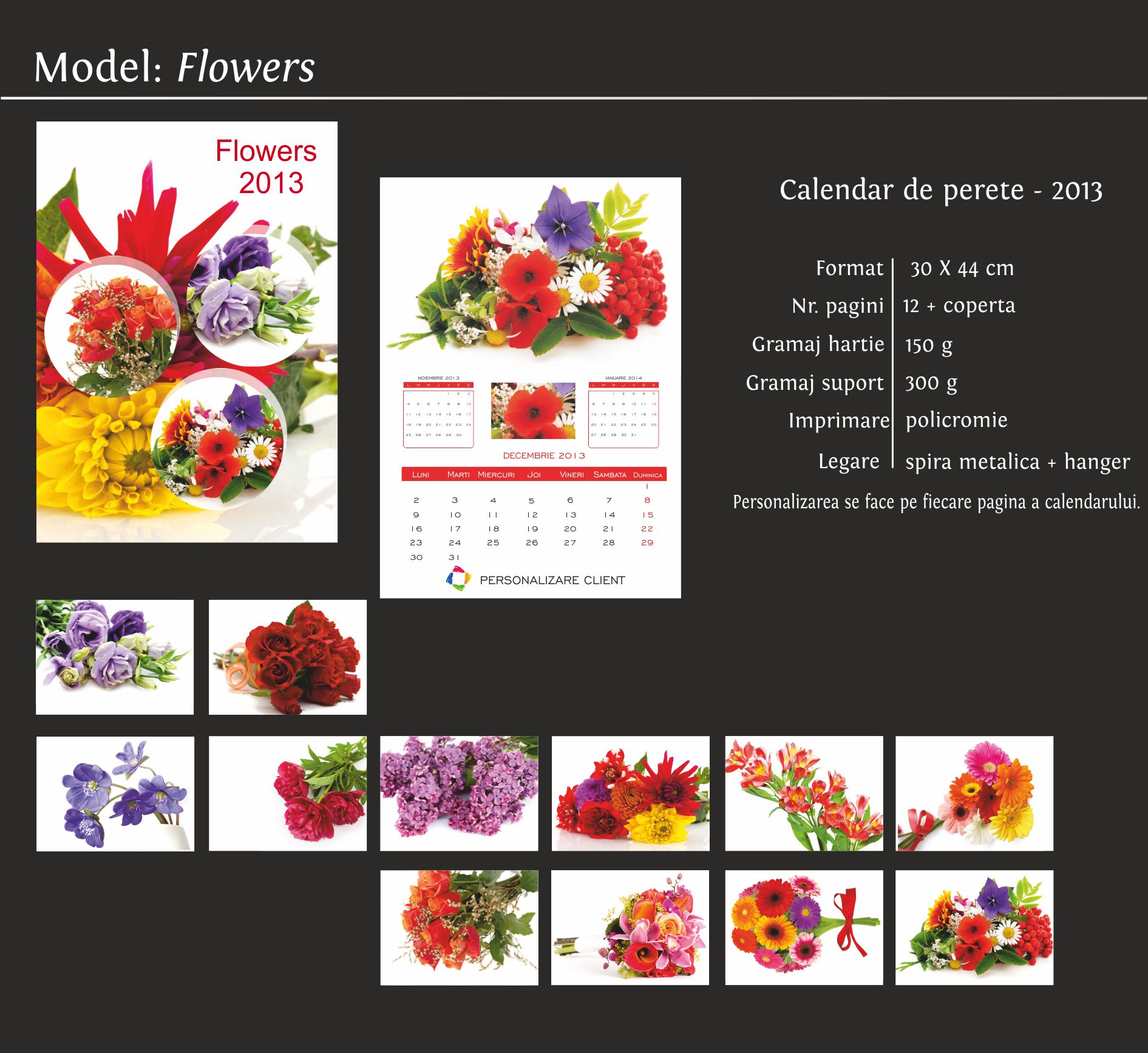 calendare de perete model flowers