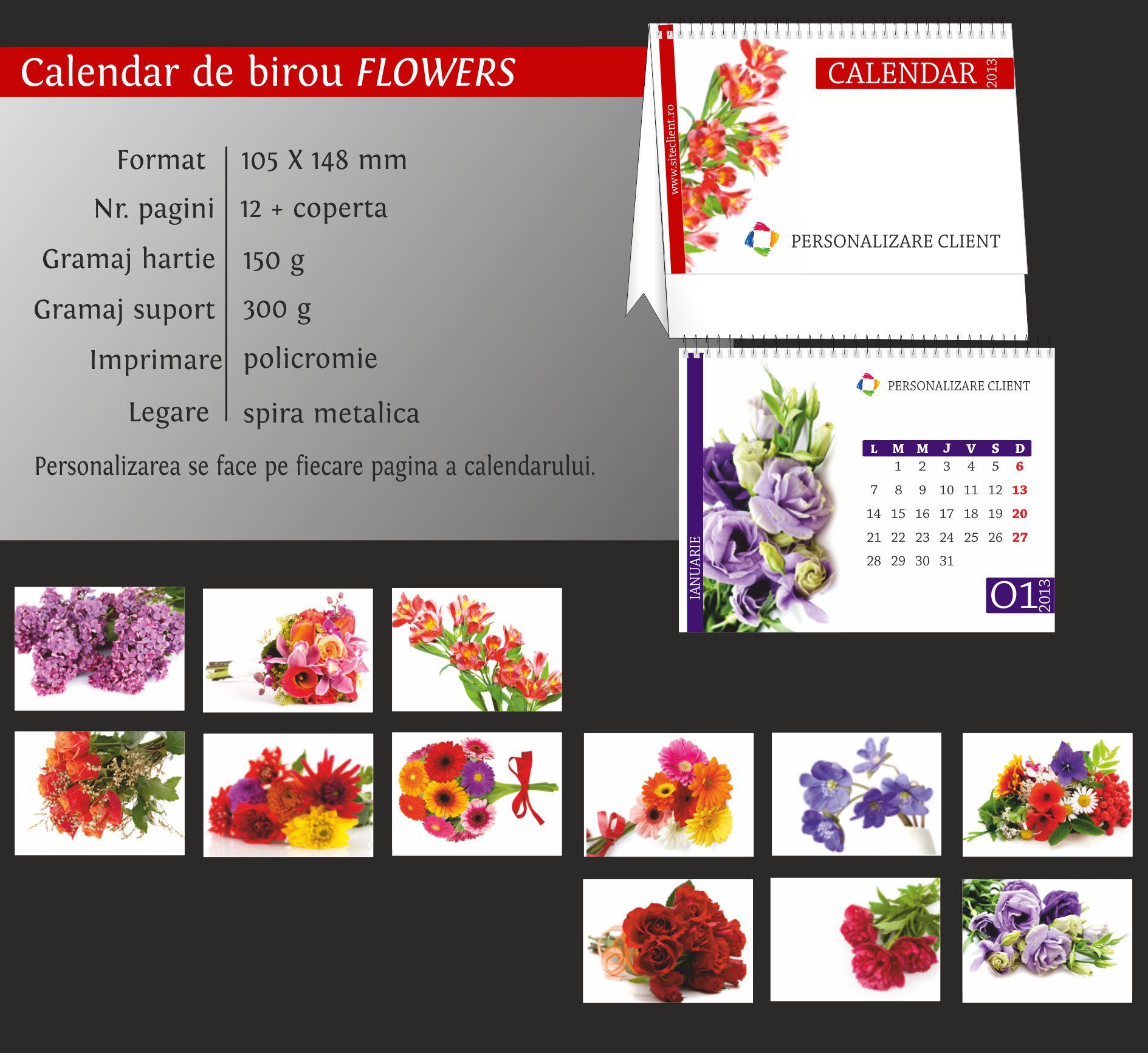 calendar birou flowers